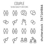 set of couple icons in modern...