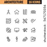 architecture flat icon set.... | Shutterstock .eps vector #567170356
