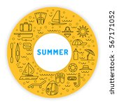 icons set for summer holiday... | Shutterstock .eps vector #567171052