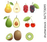 set of colorful fruit icons... | Shutterstock .eps vector #567173095