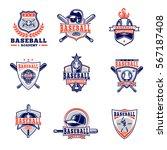 vector set of colored baseball... | Shutterstock .eps vector #567187408