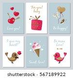 st. valentine's day. set mini... | Shutterstock .eps vector #567189922