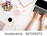 top view office desk. workspace ... | Shutterstock . vector #567194272