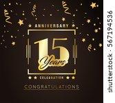15th anniversary golden... | Shutterstock .eps vector #567194536