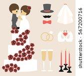 vector illustration of wedding... | Shutterstock .eps vector #567200716