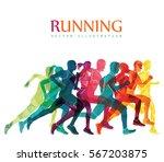 running marathon  people run ... | Shutterstock .eps vector #567203875