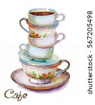 party colorful tea cups and... | Shutterstock . vector #567205498