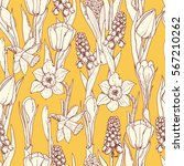 seamless pattern with spring... | Shutterstock .eps vector #567210262
