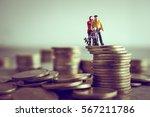 miniature mum dad and kids... | Shutterstock . vector #567211786
