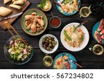 variety of italian food with... | Shutterstock . vector #567234802