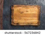 empty cutting board with cloth... | Shutterstock . vector #567236842