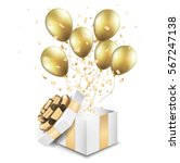 open gold gift box with balloons | Shutterstock .eps vector #567247138