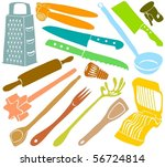 set of a kitchen accessories | Shutterstock .eps vector #56724814