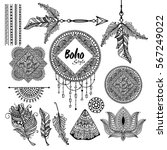 set of floral boho style hand... | Shutterstock .eps vector #567249022