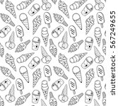 seamless ice cream pattern ... | Shutterstock .eps vector #567249655