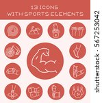 13 icons with sports elements. | Shutterstock .eps vector #567253042
