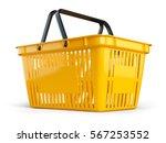 yellow empty  shopping basket... | Shutterstock . vector #567253552