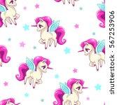 cute girlish seamless pattern... | Shutterstock .eps vector #567253906