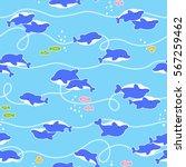 pretty dolphin pattern | Shutterstock .eps vector #567259462