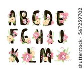 floral alphabet isolated on... | Shutterstock .eps vector #567259702