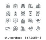 gifts. set of outline vector... | Shutterstock .eps vector #567265945