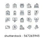 gifts. set of outline vector... | Shutterstock .eps vector #567265945