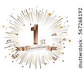 1st anniversary greeting card... | Shutterstock .eps vector #567268192
