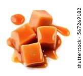 caramel candies and caramel...   Shutterstock . vector #567269182