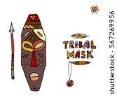 tribal mask ethnic  sketch for...   Shutterstock .eps vector #567269956