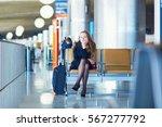 young woman in international... | Shutterstock . vector #567277792