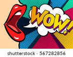Open mouth and WOW Message in pop art style, promotional background, presentation poster. Flat design, vector illustration. | Shutterstock vector #567282856