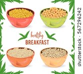 collection of cereal porridge ... | Shutterstock .eps vector #567296242