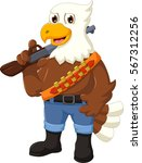 cute eagle cartoon posing with...   Shutterstock .eps vector #567312256