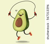 Cute Avocado Cartoon Character...