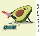 cute avocado cartoon character... | Shutterstock .eps vector #567313432