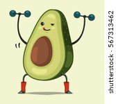 cute avocado cartoon character... | Shutterstock .eps vector #567313462