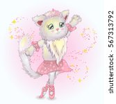 cute kitten dancing | Shutterstock . vector #567313792