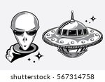 alien head and flying ufo... | Shutterstock .eps vector #567314758