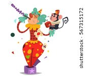 funny circus clown in... | Shutterstock .eps vector #567315172