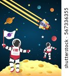 astronaut cartoon on the moon... | Shutterstock .eps vector #567336355