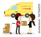 delivery man unload delivery... | Shutterstock .eps vector #567336535