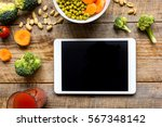concept diet and tablet with... | Shutterstock . vector #567348142