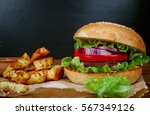 tasty grilled beef burger with... | Shutterstock . vector #567349126
