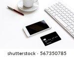 credit card  keyboard ... | Shutterstock . vector #567350785