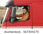 handsome man driving big modern ... | Shutterstock . vector #567354175