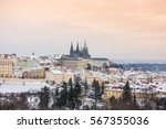 view of prague and its castle... | Shutterstock . vector #567355036