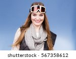 woman skier girl wearing warm... | Shutterstock . vector #567358612