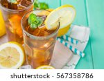 iced tea in glasses  summer... | Shutterstock . vector #567358786
