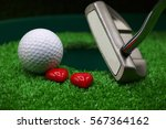 golf ball and putter with love... | Shutterstock . vector #567364162
