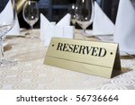 reserved sign on the table | Shutterstock . vector #56736664